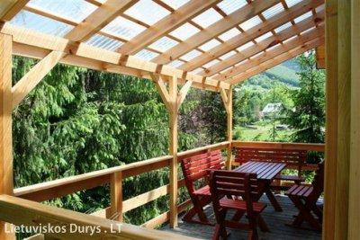 деревянные террасы из поликарбоната фото